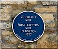 SD7109 : Blue Plaque: St Helena Mill by Gerald England