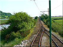 SY2591 : South along the Seaton Tramway from the Axmouth Loop by Brian Robert Marshall