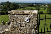 ST7581 : Cotswold Way Marker on Church Wall, Old Sodbury, Gloucestershire 2011 by Ray Bird
