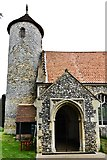 TG1508 : Bawburgh, St. Mary and St. Walstans' Church: Tower and south porch by Michael Garlick
