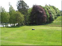 NT4227 : Bowhill loch, trees, lawns - and auto-mower by David Hawgood