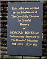ST1499 : Morgan Jones MP Memorial Tablet, Bargoed by Jaggery