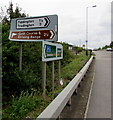 SO9233 : Directions and distances signs alongside the A46, Ashchurch by Jaggery