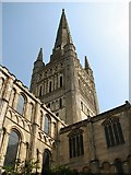 TG2308 : Norwich cathedral spire from the north-west by Evelyn Simak