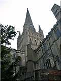 TG2308 : Norwich cathedral spire from the north-east by Evelyn Simak