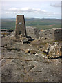 SE0073 : Cut bench mark and trig point, Great Whernside by Karl and Ali