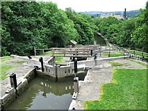 SE1039 : Looking down the Bingley Five Rise Locks, Leeds and Liverpool Canal by G Laird