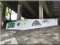 NT9952 : Graffiti under the Royal Tweed Bridge by Jonathan Hutchins