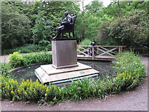TQ2479 : Pools by statue, Holland Park water conservation scheme by David Hawgood