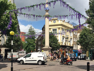 TQ3081 : Seven Dials from Monmouth Street by John Sutton