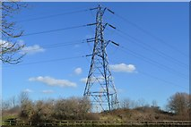 TQ3586 : Pylon by relief channel by N Chadwick