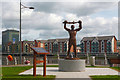 ST3188 : Statue of a boxer, Newport by Robin Drayton