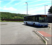 ST1599 : X38 for Pontypridd in Bargoed bus station by Jaggery