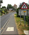 SY3392 : Warning sign - road narrows, Sidmouth Road, Lyme Regis by Jaggery