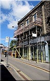 ST1599 : Emporium Buildings under scaffolding, Bargoed by Jaggery