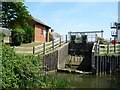 TL5369 : Drain flaps on the sluice next to Reach Lode Lock by Christine Johnstone