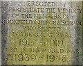 SJ8895 : Brookfield Unitarian Church War Memorial: Front inscription by Gerald England