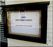 SX2553 : Looe Sarcasm Society noticeboard, Lower Chapel Street, East Looe by Jaggery