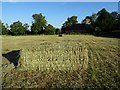 SO8742 : Hay bales and Earl's Croome church by Philip Halling