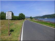 NS0273 : Pre Worboys road sign near Rhubodach by Thomas Nugent