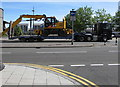 ST3188 : Yellow heavy plant in transit, Kingsway, Newport by Jaggery