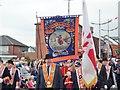 J3731 : Rev. Mervyn Gibson, grand secretary of the Orange Order, leading the dignitaries at the Newcastle Demonstration : Week 28