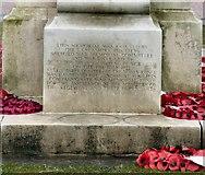 SJ8298 : Albion Place War Memorial inscription by Gerald England