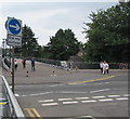 ST2995 : One way/Unffordd sign facing the exit from Cwmbran bus station by Jaggery