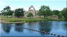 SE0754 : Bolton Priory stepping stones by Mark Percy