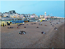 TQ3103 : Evening gatherings, Brighton beach by Robin Webster