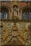 TL4458 : Carving over the main gate of St John's College, Cambridge by Christopher Hilton