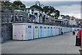 SY3491 : Lyme Regis : Beach huts by Julian Osley