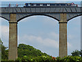 SJ2741 : Boat & cyclists on Pontcysyllte Aqueduct by Robin Drayton