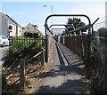 SZ1593 : Tubular footbridge over railway lines, Christchurch by Jaggery