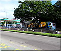 ST3091 : Yellow heavy plant in transit, Malpas Road, Newport by Jaggery