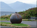 NS1748 : Mooring ball in Portencross car park by Thomas Nugent