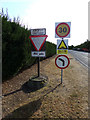TL8427 : Roadsigns on Earls Colne Airfield Road by Adrian Cable