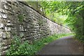 NT1767 : Retaining wall by former railway, Currie by Jim Barton