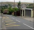SO1105 : Zigzag markings on Farm Road, Pontlottyn by Jaggery