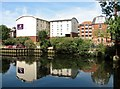 TG2208 : The Premier Inn reflected in the River Wensum by Evelyn Simak