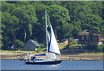 NS0373 : Yacht in the Kyles of Bute by Thomas Nugent