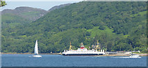 NS0374 : Ferry and yacht at Colintraive by Thomas Nugent
