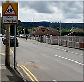 ST1888 : Warning sign - Patrol/Hebryngwr, Navigation Street, Trethomas by Jaggery