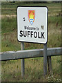 TM0932 : Welcome to Suffolk sign by Adrian Cable
