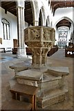 TL9836 : Stoke by Nayland, St. Mary's Church: The c15th octagonal font with emblems of the Evangelists by Michael Garlick