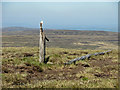 NY8144 : Broken pole on the summit of Killhope Law by Mike Quinn