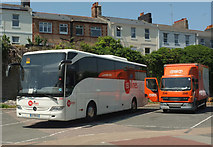SX9164 : French coach, Torquay coach station by Derek Harper