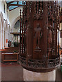 TL5850 : Balsham: Holy Trinity - font cover and nave by John Sutton