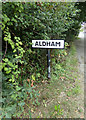 TL9226 : Aldham Village Name sign by Adrian Cable