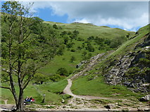 SK1551 : Path into Lin Dale from the River Dove by Chris Gunns